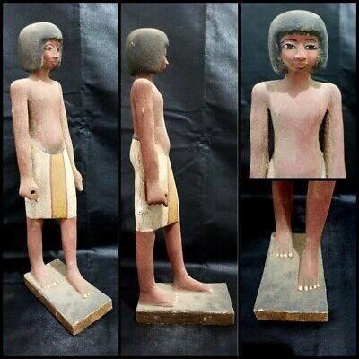 Wooden Ushabti Sculpture Shabti Egyptian Antiques Bead Mummy Carved Statuette
