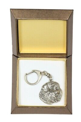 Bouvier des Flandres Keychain in a Box, Silver Plated Key Ring CA 2726