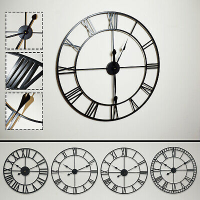 Large Roman Numerals Skeleton Wall Clock Big Giant Open Face Round Outdoor Home