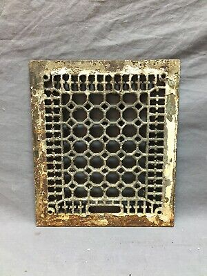 Antique Cast Iron Heat Grate Grill Honeycomb Cover Old White VTG 12X14 961-20B