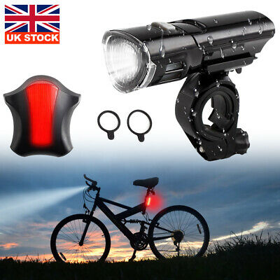 MTB Road Bike Bicycle Cycling Head Front Lights w// Rear Tail Lamps Set UK