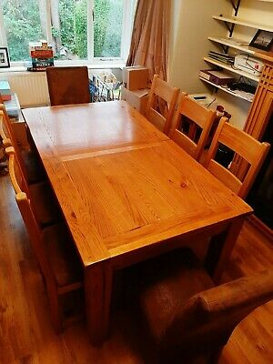 Solid Oak Extending Dining Table And 8 Chairs Barker And Stonehouse Used 150 00 Picclick Uk