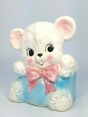 Pink bear with blue bow vintage planter