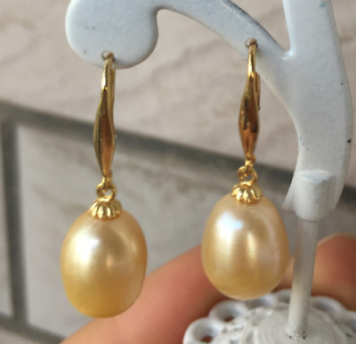 HOT Huge AAAA+16mm Golden South Sea Shell Pearl Earring 14K Gold plating