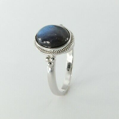 Details about  /Size 8 Genuine and Natural Round LABRADORITE Ring 925 STERLING SILVER #13