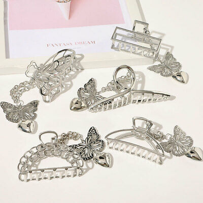 1990s Trio Glitzy Floral /& Butterfly French Hair Barrettes