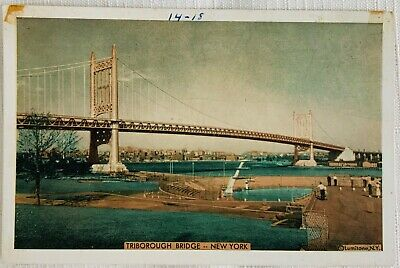 New York Postcard 1918 Posted Vintage Linen Photograph of the Triborough Bridge from Hell\u2019s Gate Overlooking the East River