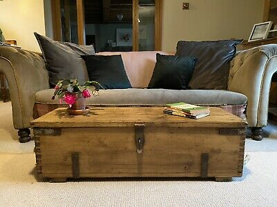Old Pine Chest Wooden Blanket Trunk Coffee Table Vintage Storage Box Rustic 181 00 Picclick Uk