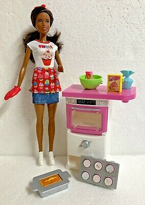 Barbie Baker Play Kitchen Set African American Doll You Can Be Anything Complete 11 83 Picclick Uk