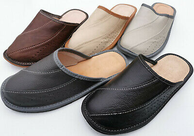 Mens 100/% Genuine Real Leather Slippers Slip on Gift UK Size 6 7 8 9 10 11 12