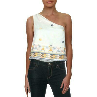 FREE PEOPLE NEW Women/'s One Shoulder Embroidered Cropped Tank Shirt Top XS TEDO