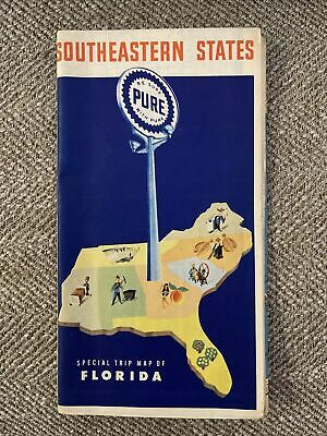 Vintage PURE Map SOUTHEASTERN STATES Special Trip Map Of Florida