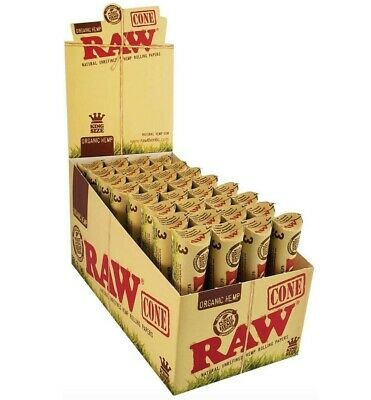 RAW Organic King Size Cones Authentic Pre-Rolled Cones Full Box 32 X 3 Packs =96