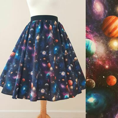 Space Cats Galaxy Stars Printed Adult High Waisted Skater Skirts