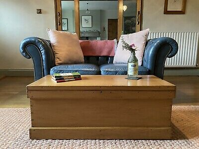 Old Pine Chest Wooden Blanket Trunk Coffee Table Vintage Toy Storage Box 146 00 Picclick Uk
