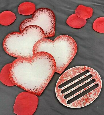 Plate Coaster from felt heart shape Valentines valentindays Red White Large XL