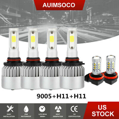 For GMC Terrain 2015 2014 2013 2012 2011 2010 White LED Fog+Headlight Bulbs Kit