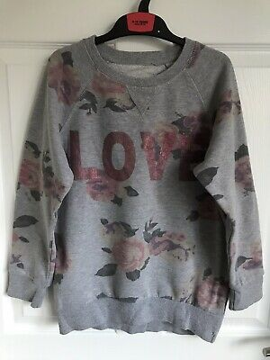 Girls Grey/Pink Young Dimensions Primark Floral Sweatshirt - Age 11-12yrs