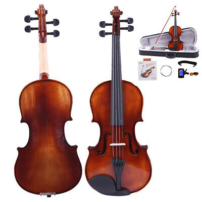 3/4 Size Violin Solid Maple Spruce Wood Fiddle w/ Case Bow Rosin String Tuner