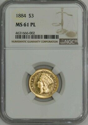 1884 $3 Gold Indian MS61 PL Proof-Like NGC 943439-12