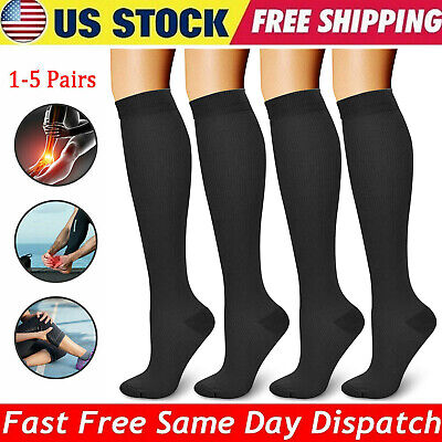 1-5 Pair Sports Copper Compression Socks 20-30mmHg Calf Leg Support Stockings US