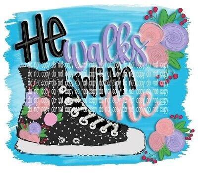 Sublimation Heat Transfer Design He Walks With Me High Top Sneaker Christian