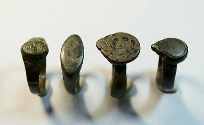 Rare Lot Of 4 Ancient Roman To Medieval Bronze Rings - Wearable Artifacts