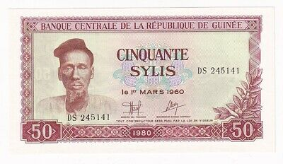 AFRICA GUINEA 5 SYLIS Banknote 1980 UNC