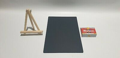 A3  - Traditional Double Sided Chalkboard + Wooden Easel + 48 Chalk Sticks (T)