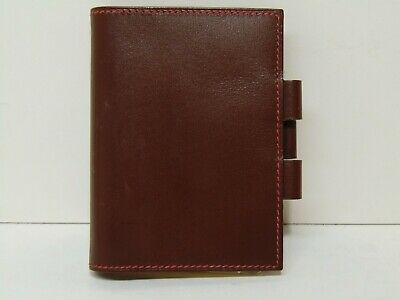 Hermes Paris Authentic Brown & Red Leather Flap Notepad Cover w/ Notebook Agenda