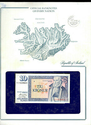 *Banknotes of Every Nation Iceland 1981 10 Kronur UNC P-48a.4 sign 43 Prefix A