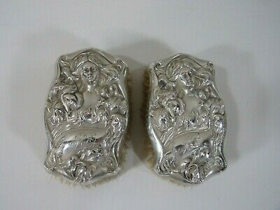 Pair Sterling Silver Vanity Brush with Repousse Art Nouveau Lady Woman's Face