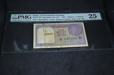 PMG Graded India, Government of India Banknote p75f 1957 1 Rupee VF25