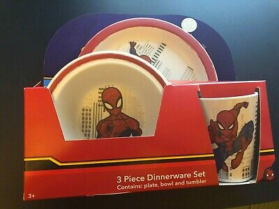 Spiderman Marvel 3 Piece Dinnerware Set kids bowl plate cup NEW