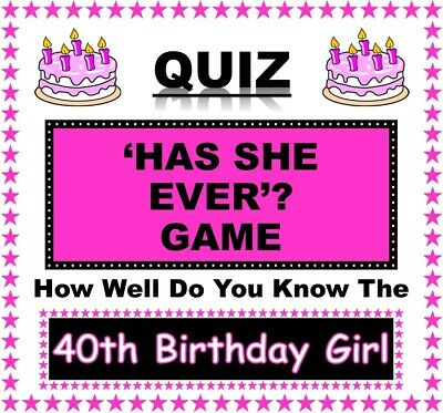 21st Birthday Girl Party Games//Quizzes  /'WOULD SHE RATHER/' and /'HAS SHE EVER/'