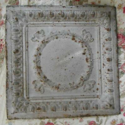 Antique Ceiling Tin Panel w Decorative Center Garland Salvage Rusty Shabby 21""
