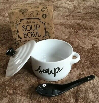 White China Soup Bowl Lid And Sipping Spoon BNWT