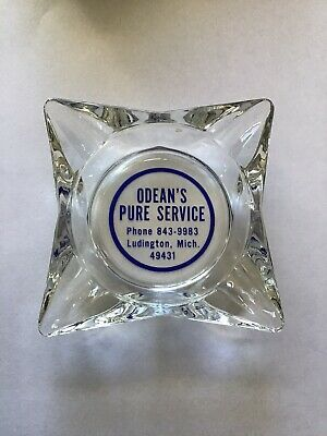 Vintage Odean's Pure Service Ludington Michigan Cigarette Ashtray Gas Station