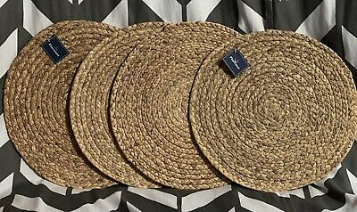 """NEW Woven wicker straw raffia placemat 4 pieces 14/"""" round placemats"""
