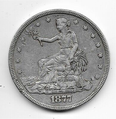 1877 Silver US Trade Dollar Extra fine condition, some dings on rim