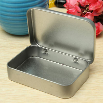 Mini Hinged Lid Tin Silver Empty Storage Box Metal Case For Money Coin Candy  fi