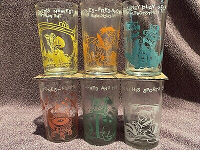 Welch's Flintstones Jelly Glasses - Complete Set of 6 from 1962
