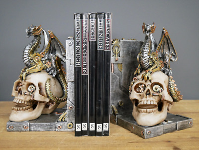 Large Steampunk Gothic Skull &Dragon Bookends Desk &Shelf Tidy