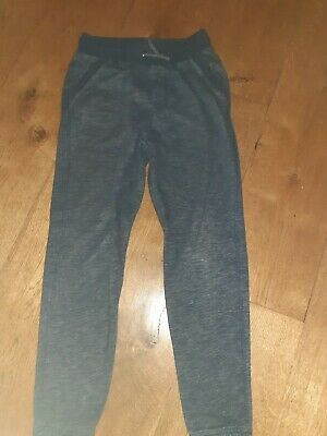 F&F Dark Grey Blue Elasticated Tie Front Cotton Joggers Trousers 11-12 yrs 152cm