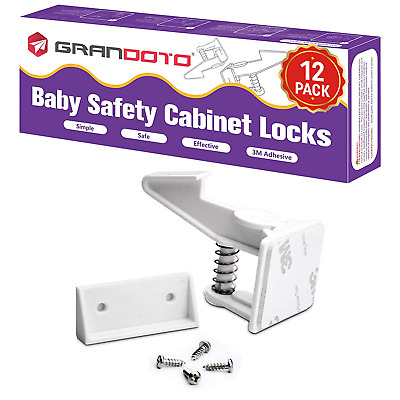 Baby Safety Cabinet Locks 12 Pack White-Grandoto Baby Proofing  Child Safety Ca