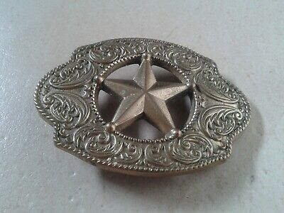 American Sheriff Star Design (Cowboy Blue Brass Rock & Roll Elvis) Belt Buckle