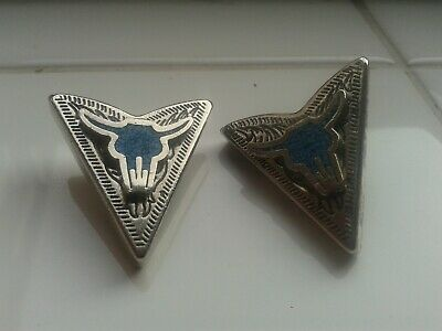 Vintage Metal Collar Tips Buffalo Head Design (Rock And Roll Cowboy Related)