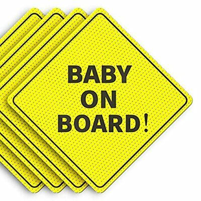 "BBaby On Board Sticker Sign Decals for CAR SAFETY Bright Yellow 5 by 5"" - 4 Pack"