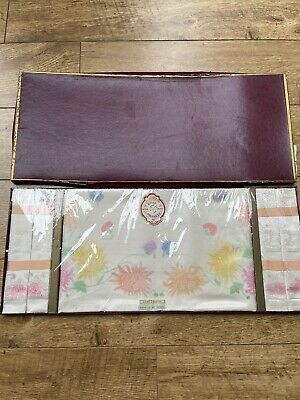 Vintage Ross Products Irish Rose Cloth And Napkins Hand Painted. Made in Ireland