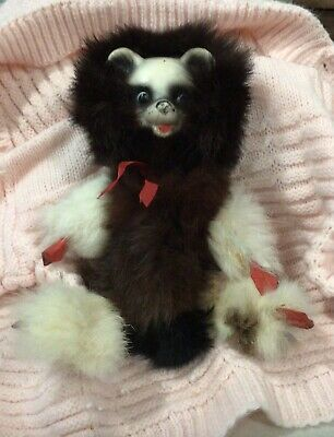 """Antique Unique 9"""" Panda Bear Face Real Animal Fur Wired Doll"""